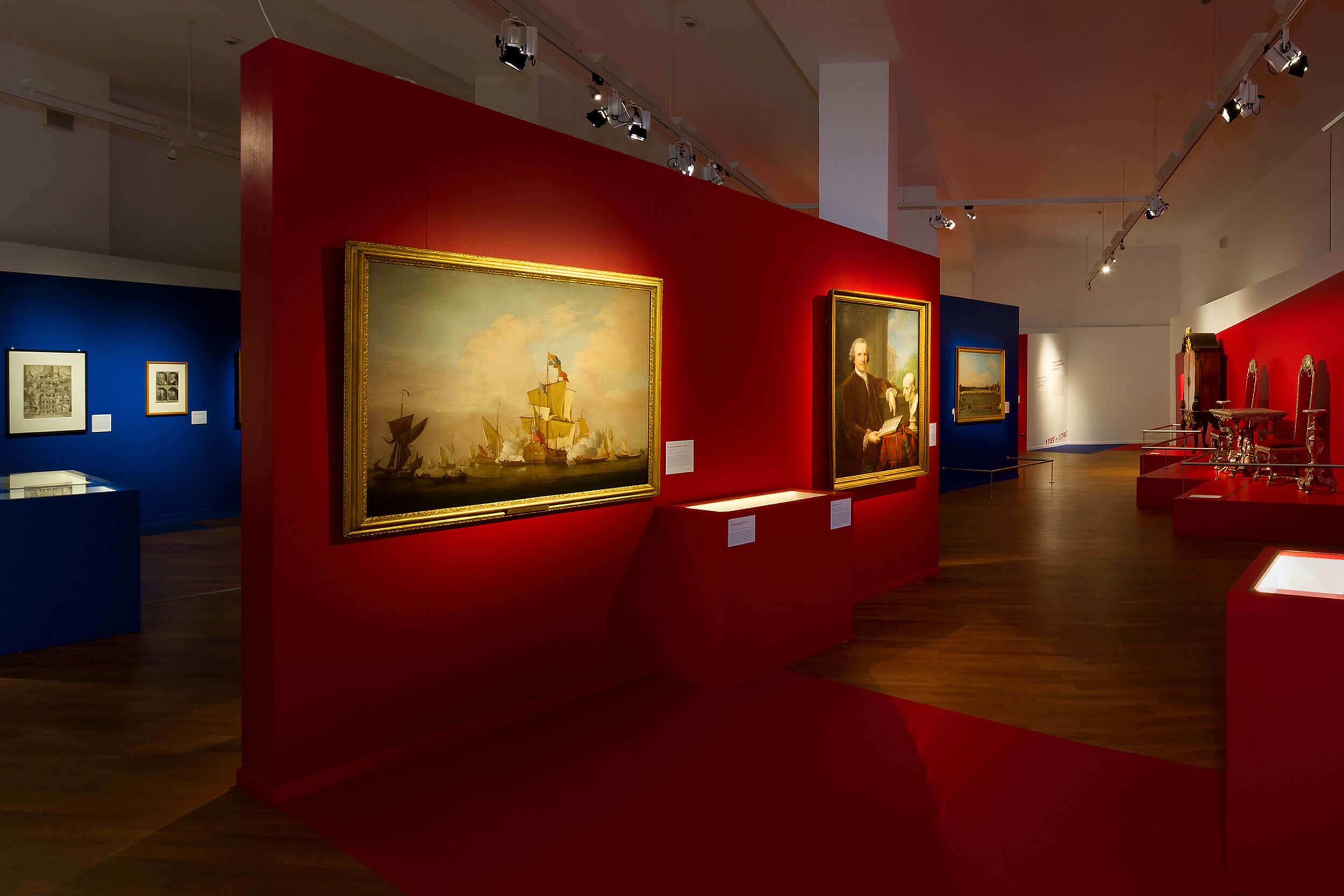 Gemälde einer Seeschlacht und zweier Männer