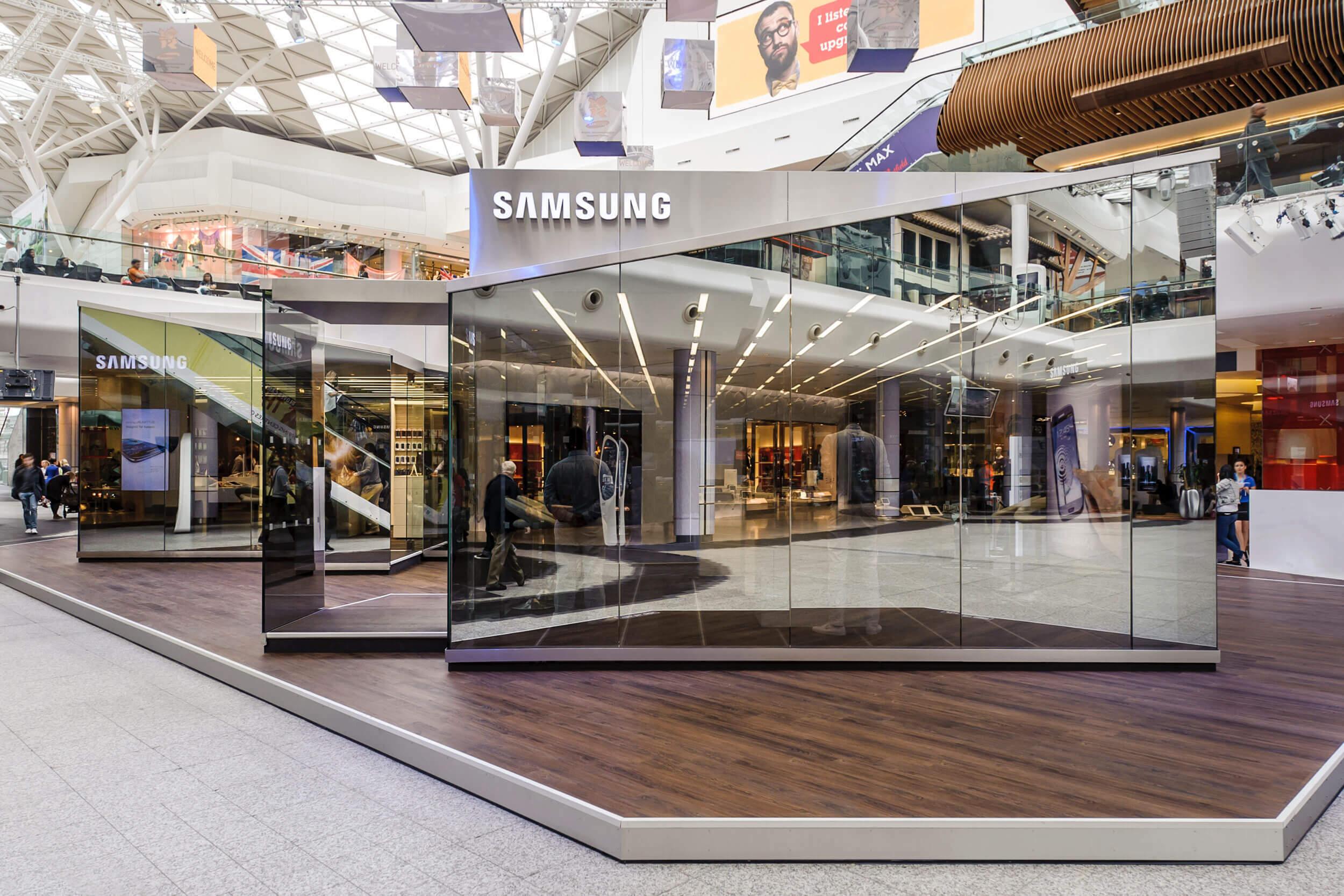 Gläserne Kabinen auf dem Samsung Olympic Park Gelände