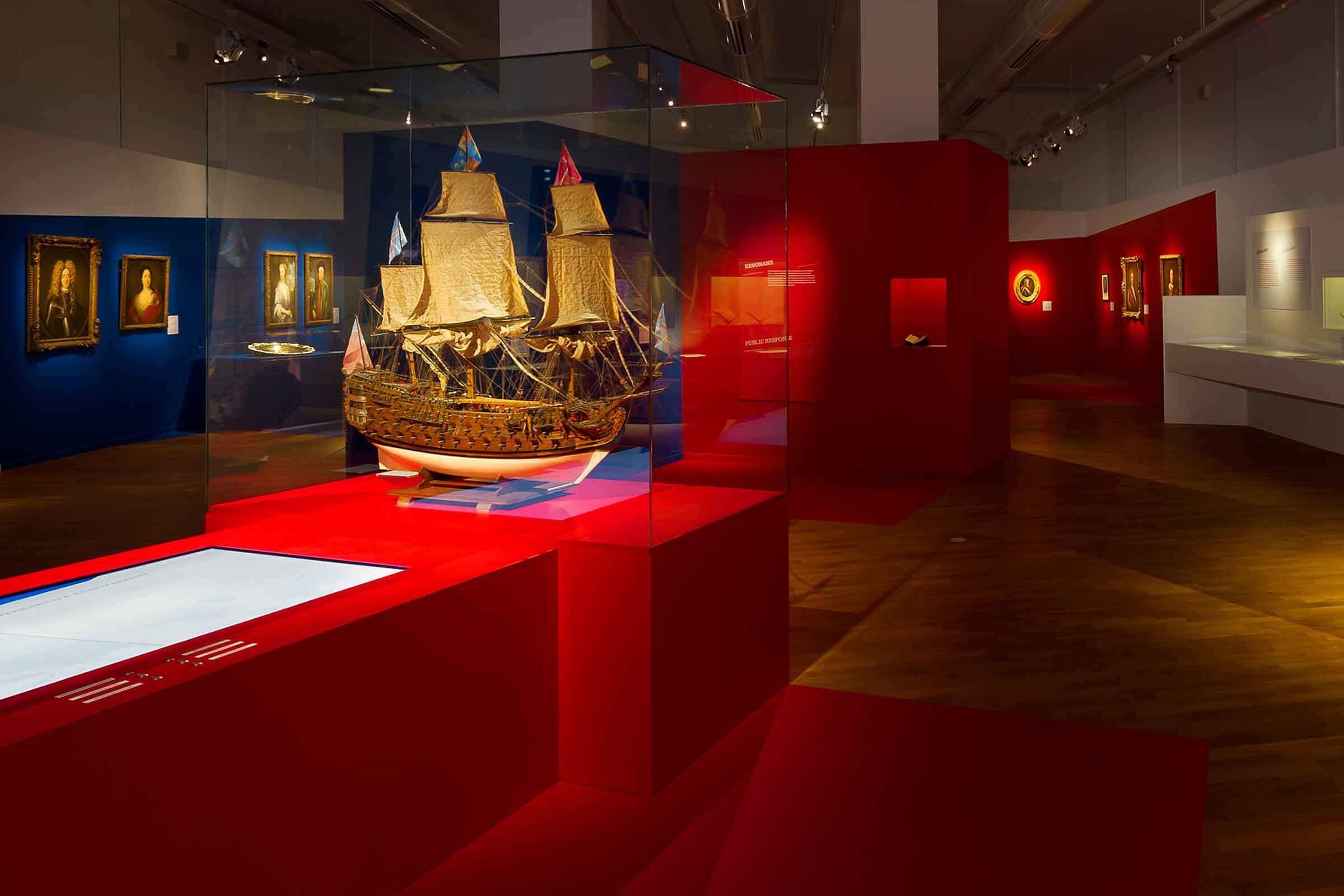 Exponat eines historischen Schiffsmodells