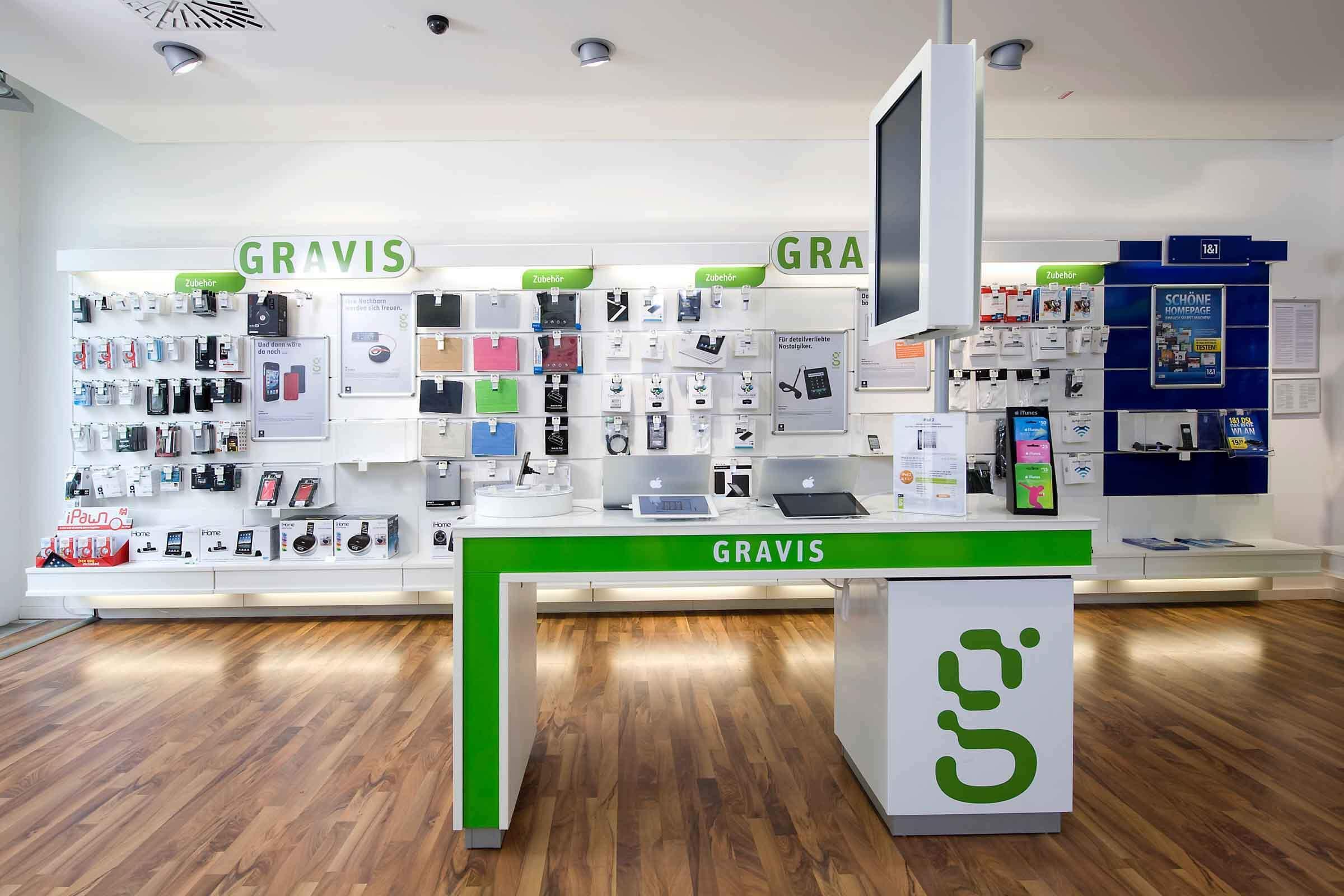 Verkaufsfläche in einem von Expomondo umgesetzten Gravis Shop